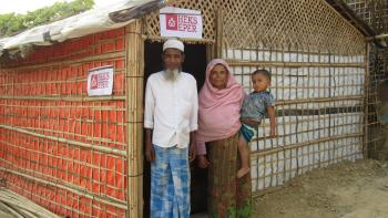 Rohingya Family in Front of their Shelter